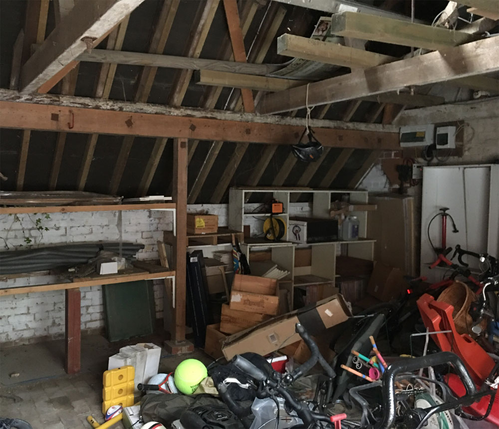 building refurbishment of garage - before